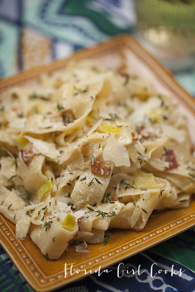 CREAMY PAPPARDELLE WITH LEEKS AND BACON | Florida Girl Cooks